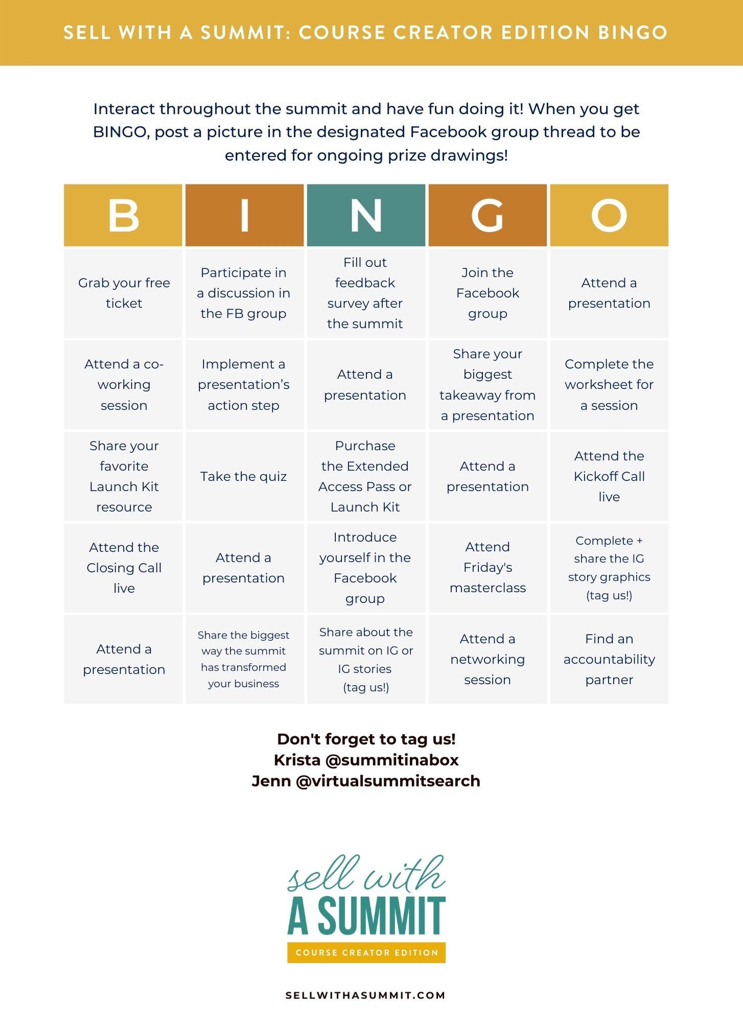 SWAS Bingo Template