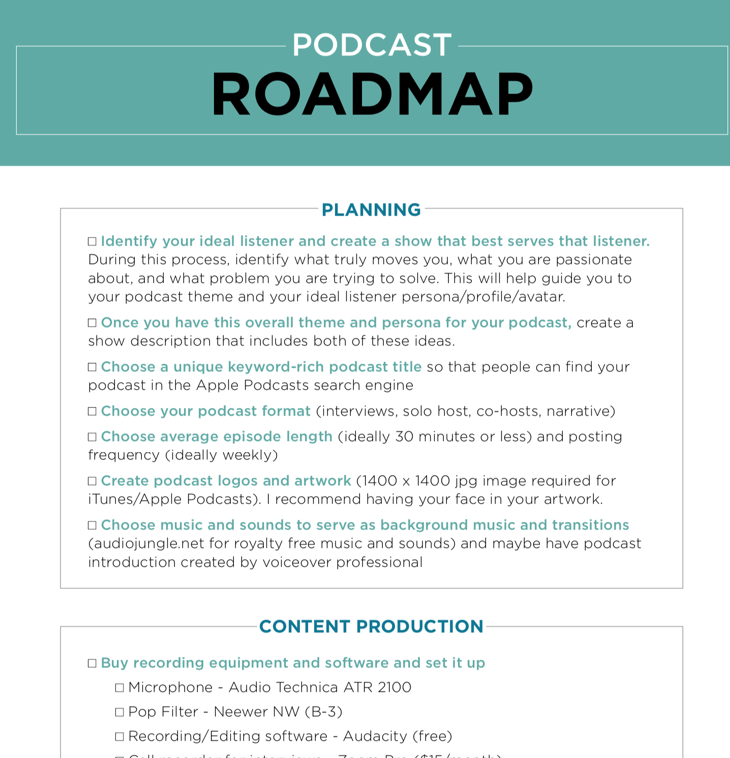 Podcast Roadmap